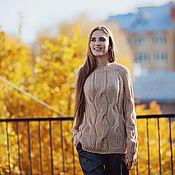 Одежда handmade. Livemaster - original item Jerseys: Beige knitted oversize sweater with Merino braids. Handmade.