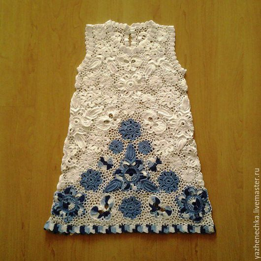 Платье для девочки, ирландское кружево, вид спереди