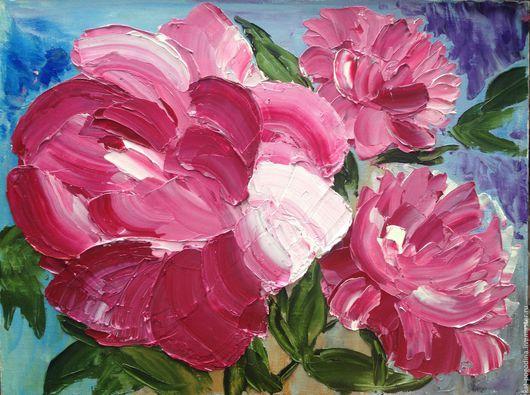 Картины цветов ручной работы. Ярмарка Мастеров - ручная работа. Купить Нежные пионы. Handmade. Розовый, пионы, цветы, букет