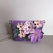 Сумки и аксессуары handmade. Livemaster - original item Leather bag .Bag with applique.Bouquet of purple. Handmade.