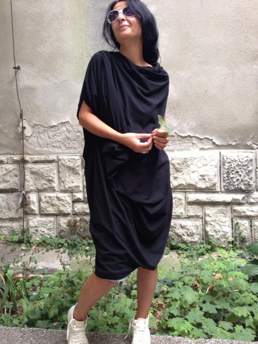 Платья ручной работы. Ярмарка Мастеров - ручная работа. Купить Экстравагантное летнее ассиметричное платье из хлопока. Handmade. Черный