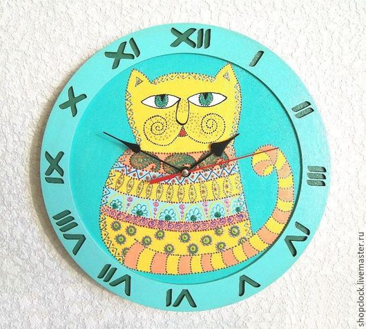 Часы для дома ручной работы. Ярмарка Мастеров - ручная работа. Купить Часы настенные Кот Баюн, часы ручной работы, детские. Handmade.