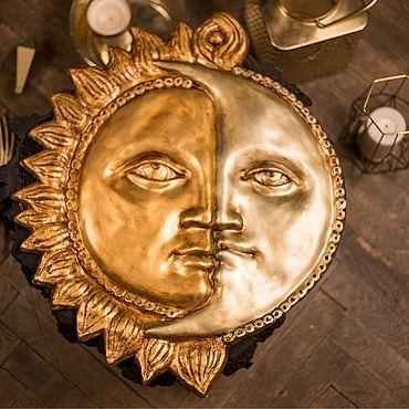 Для дома и интерьера ручной работы. Ярмарка Мастеров - ручная работа Настенное панно «Солнце и Луна». Handmade.