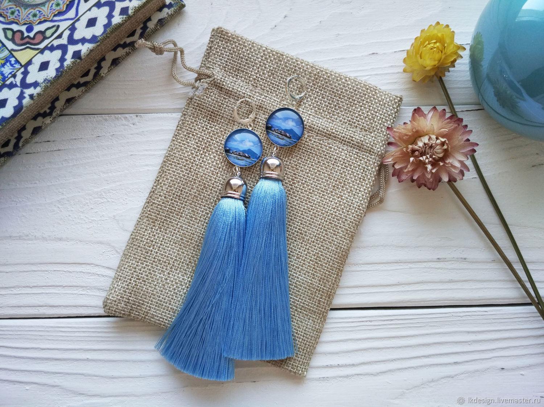 Earrings with silk tassels Sky and sea, Tassel earrings, Moscow,  Фото №1