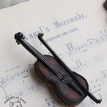Decorations handmade. Livemaster - original item brooches: Leather brooch Violin. Handmade.
