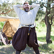 Одежда ручной работы. Ярмарка Мастеров - ручная работа Льняные штаны «Викинг». Handmade.