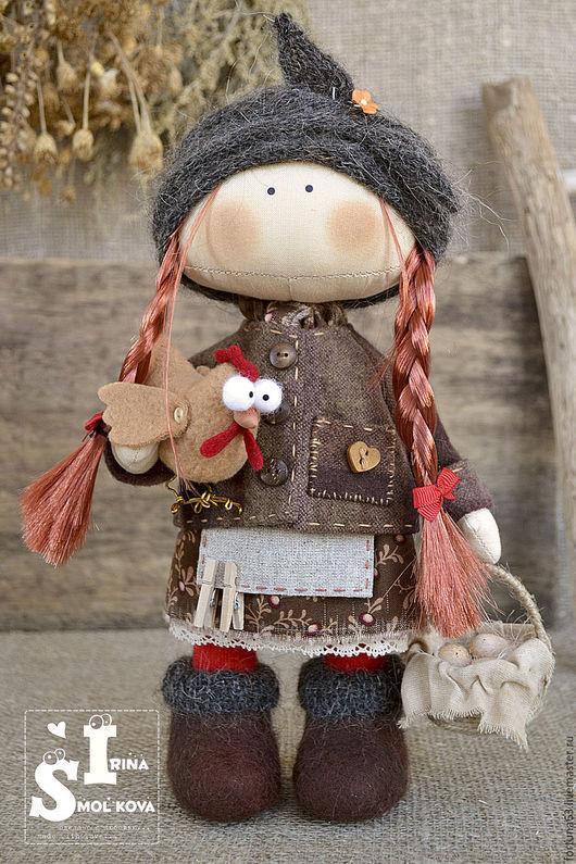 Коллекционные куклы ручной работы. Ярмарка Мастеров - ручная работа. Купить ФРОСЯ текстильная кукла. Handmade. Коричневый, интерьерная кукла