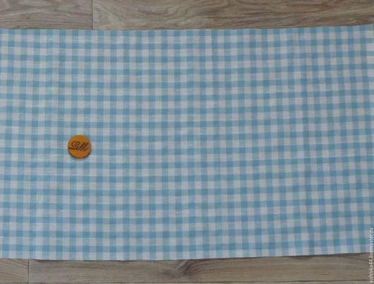 Шитье ручной работы. Ярмарка Мастеров - ручная работа. Купить ткань лен хлопок Клетка голубая2. Handmade. Ткань лен