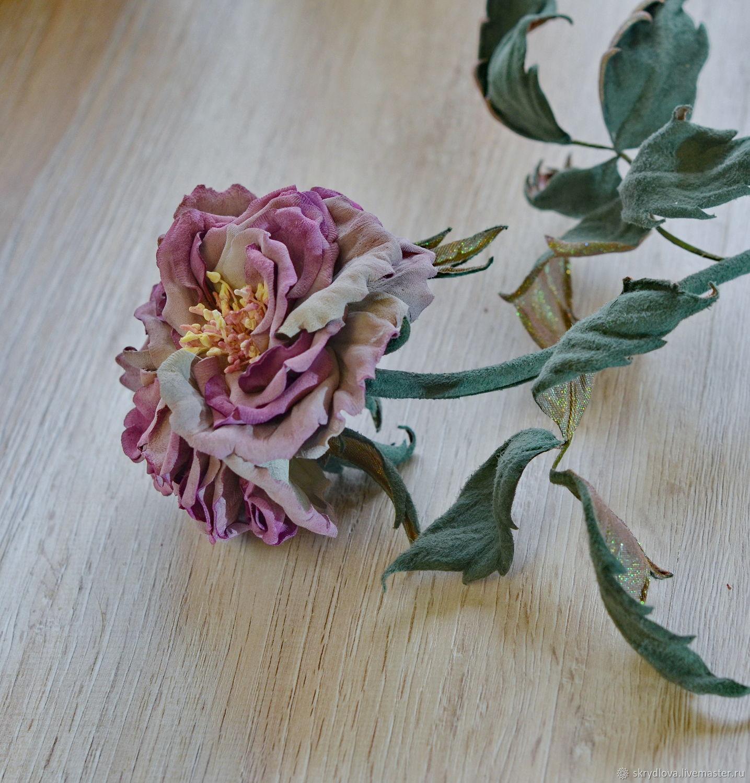 Цветы из кожи и замши интерьерная роза Сиреневая дымка, Композиции, Люберцы, Фото №1