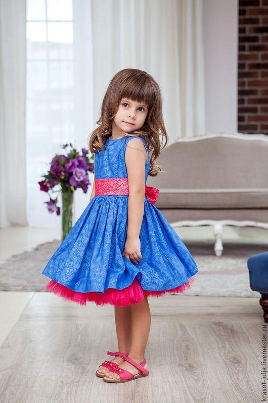 Одежда для девочек, ручной работы. Ярмарка Мастеров - ручная работа. Купить Ультрамарин и малина. Пышное нарядное платье для девочки.. Handmade.