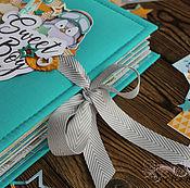 """Фотоальбомы ручной работы. Ярмарка Мастеров - ручная работа Альбом для малыша""""Sweet Boy """"подарок детский бирюзовый. Handmade."""