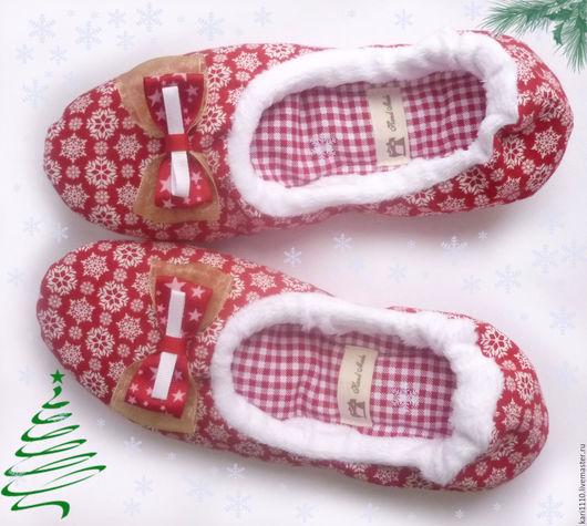 """Обувь ручной работы. Ярмарка Мастеров - ручная работа. Купить Тапочки-балетки """"Merry Christmas"""". Handmade. Ярко-красный"""
