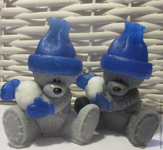Мыло ручной работы. Ярмарка Мастеров - ручная работа. Купить Сувенирное мыльце. Мишутка со снежком. Handmade. Тёмно-синий