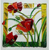 """Картины и панно ручной работы. Ярмарка Мастеров - ручная работа Панно """"Маков цвет"""". Handmade."""