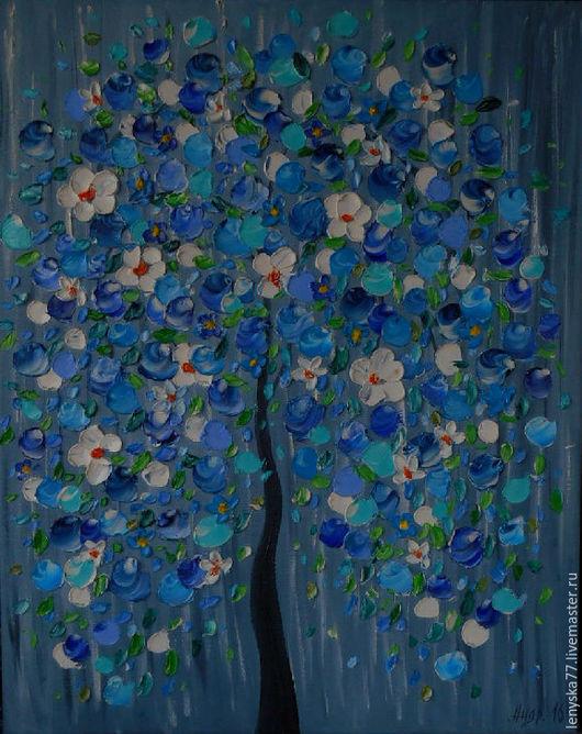 Картины цветов ручной работы. Ярмарка Мастеров - ручная работа. Купить Картина маслом Синее дерево 40х50см. Handmade. Синий