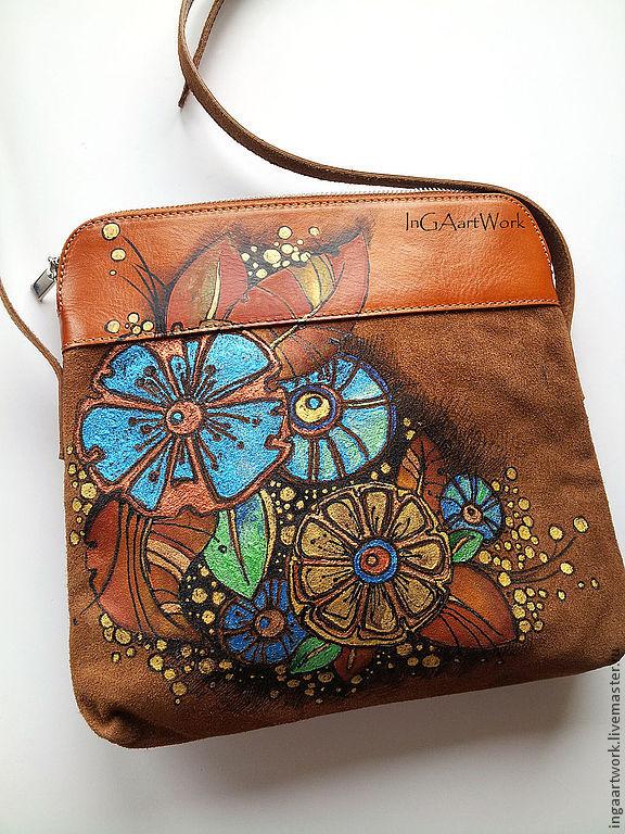 Ручная роспись на женской сумочке сделано своими руками