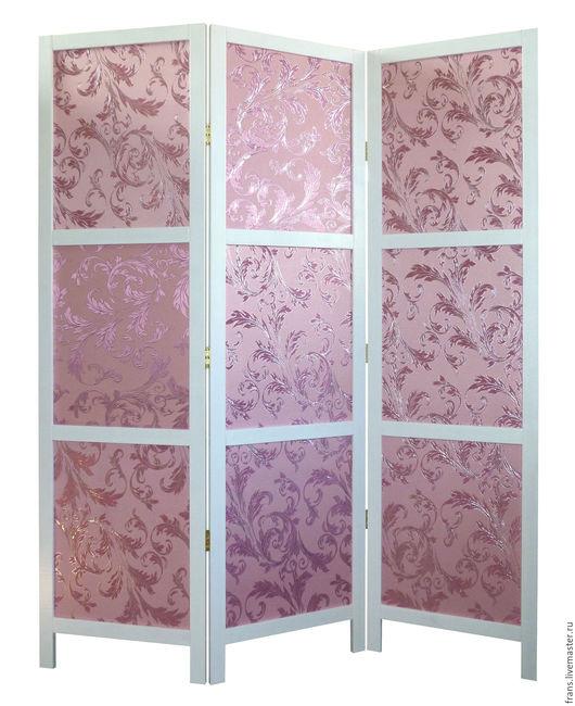 ширма деревянная в стиле Прованс розовый букет