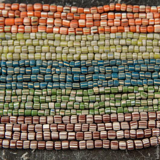 Для украшений ручной работы. Ярмарка Мастеров - ручная работа. Купить Матовые с полосками стеклянные бусины-бочонки, Индонезия. Handmade.