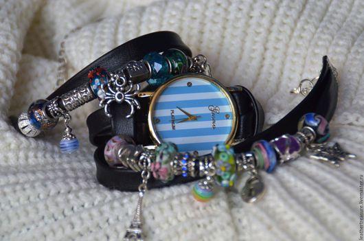 Часы ручной работы. Ярмарка Мастеров - ручная работа. Купить часы в стиле Pandora. Handmade. Голубой, кожаный ремешок, циферблат