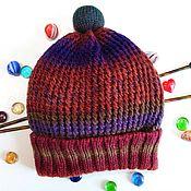 Аксессуары handmade. Livemaster - original item Knitted hat, beanie (stocking) the three-dimensional lapel wool. Handmade.