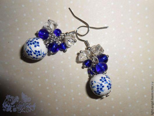 """Серьги ручной работы. Ярмарка Мастеров - ручная работа. Купить Серьги """"Лобелия"""". Handmade. Синий, маленькие серьги, подарок женщине"""