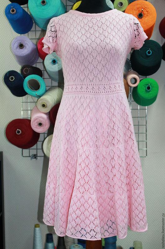 Платья ручной работы. Ярмарка Мастеров - ручная работа. Купить Платье №62 вязаное из 100% хлопка. Handmade. Бледно-розовый