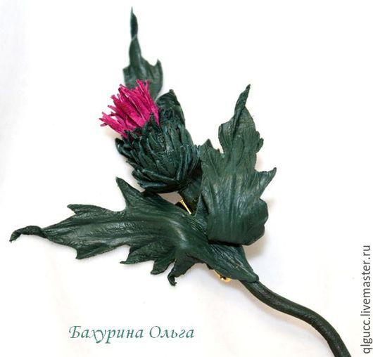 Броши ручной работы. Ярмарка Мастеров - ручная работа. Купить Чертополох из кожи. Handmade. Комбинированный, цветы из шелка, брошь цветок