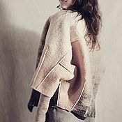 Одежда handmade. Livemaster - original item Beige coat cocoon from handmade felted short coat oversized. Handmade.