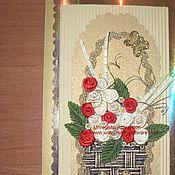 Открытки ручной работы. Ярмарка Мастеров - ручная работа Корзина роз. Handmade.