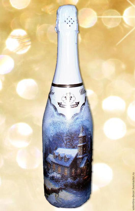 Новый год 2017 ручной работы. Ярмарка Мастеров - ручная работа. Купить Декор бутылок на любой праздник. Handmade. Новогоднее шампанское