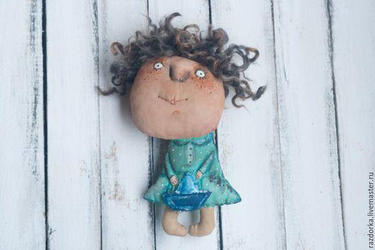 """Коллекционные куклы ручной работы. Ярмарка Мастеров - ручная работа. Купить Авторская кукла """"Кучеряшка"""". Handmade. Бирюзовый, кукла интерьерная"""
