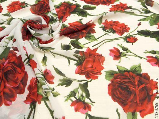 Шитье ручной работы. Ярмарка Мастеров - ручная работа. Купить Ткань шифон Розы  белый. Handmade. Ткань для рукоделия