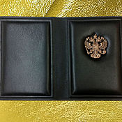 """Канцелярские товары handmade. Livemaster - original item Обложка на паспорт """"Ваше благородие"""" из натуральной коричневой кожи. Handmade."""