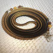 Лариаты ручной работы. Ярмарка Мастеров - ручная работа Лариат вязанный из бисера коричнево-золотой трансформер. Handmade.