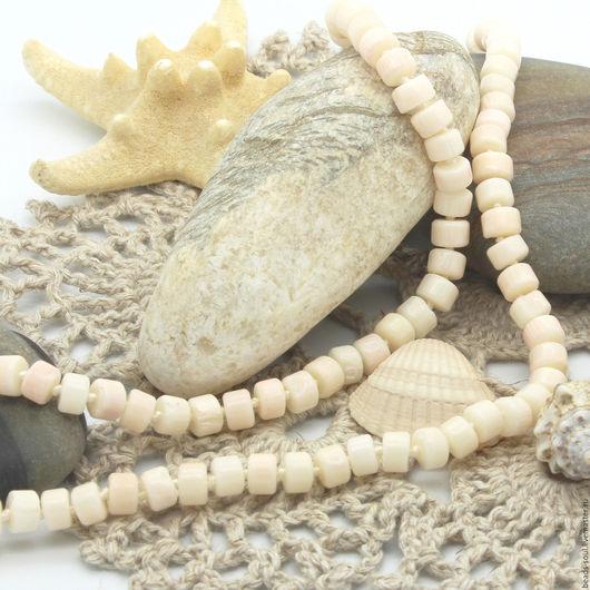 Для украшений ручной работы. Ярмарка Мастеров - ручная работа. Купить Коралл белый с розовым отливом бусины рондель - арт.9-03. Handmade.