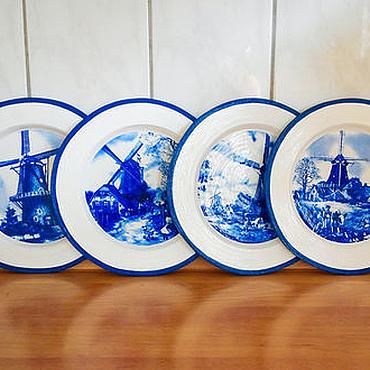 Посуда ручной работы. Ярмарка Мастеров - ручная работа Голландские мельницы, набор из 4-х тарелочек. Handmade.