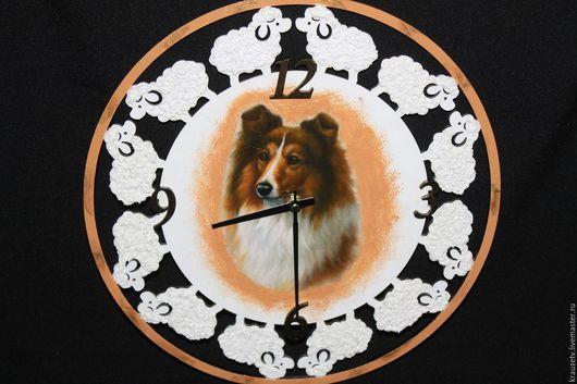 """Аксессуары для собак, ручной работы. Ярмарка Мастеров - ручная работа. Купить Часы настенные в технике декупаж """"Пастушок"""". Handmade. Декупаж"""