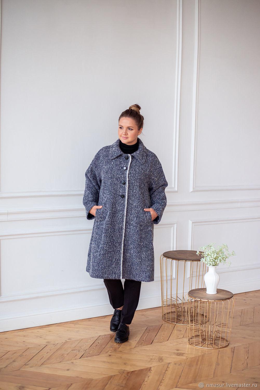 Тёплое Шерстяное пальто синее в елочку – купить на Ярмарке Мастеров – P5PMKRU   Пальто, Новосибирск