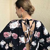 Платья ручной работы. Ярмарка Мастеров - ручная работа Платье летнее, длинное, свободное из хлопка с рукавами Кофейные Розы. Handmade.