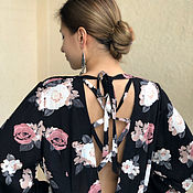 Одежда handmade. Livemaster - original item Summer dress, long, loose cotton with sleeves Coffee Roses. Handmade.