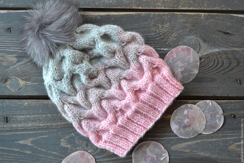 вязаная шапка с градиентом ручной работы купить в интернет
