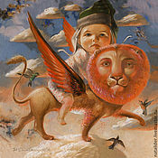 Картины и панно ручной работы. Ярмарка Мастеров - ручная работа Картина Огненный лев Натальи Деревянко. Handmade.