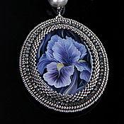 Украшения handmade. Livemaster - original item Set of jewelry pendant and earrings iris. Handmade.
