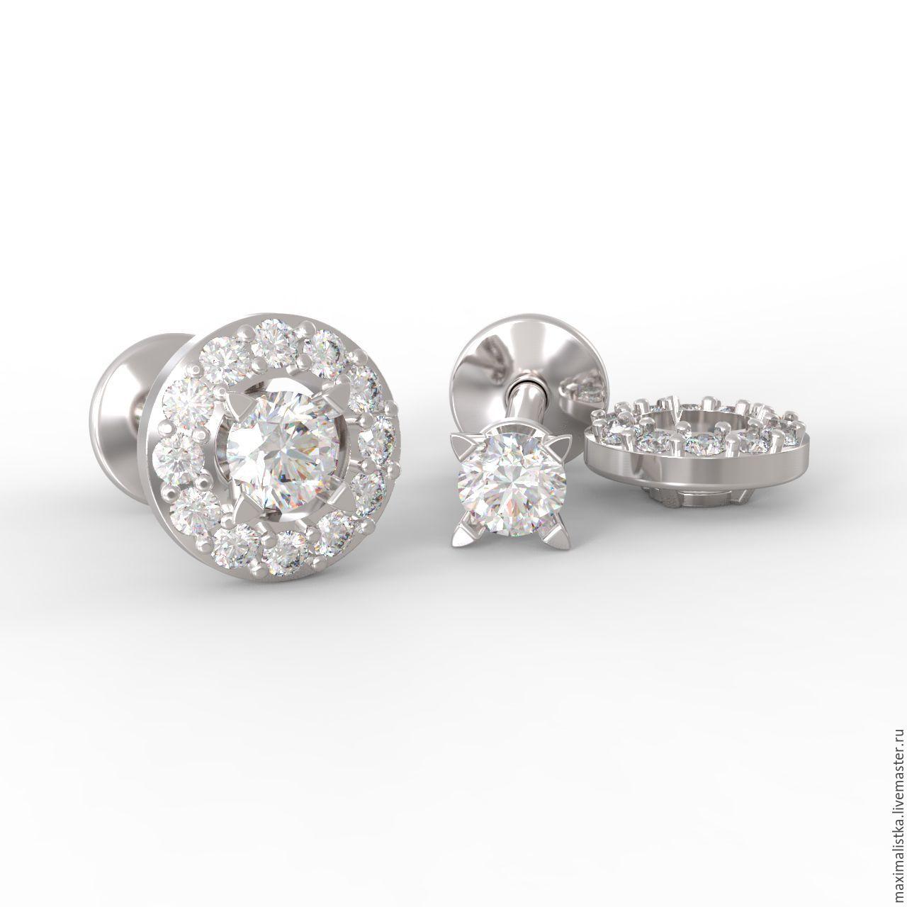 Studs Diamond gold white diamond earrings, gold, Stud earrings, Moscow,  Фото №1
