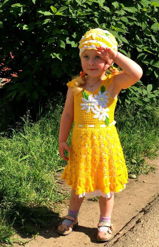 """Одежда для девочек, ручной работы. Ярмарка Мастеров - ручная работа. Купить Платье и шапочка """"Ромашка"""". Handmade. Желтый, цветок, цветы"""