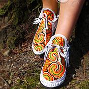 """Обувь ручной работы. Ярмарка Мастеров - ручная работа Белые кожаные ботиночки """"White Hippie"""". Handmade."""