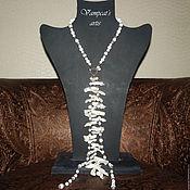 """Колье ручной работы. Ярмарка Мастеров - ручная работа Колье-галстук белое """"Альвина"""". Handmade."""