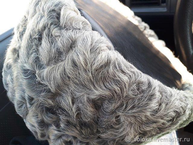 Кубанка каракуль натуральный  серый с черным кожаным верхом, Шапки, Краснодар,  Фото №1