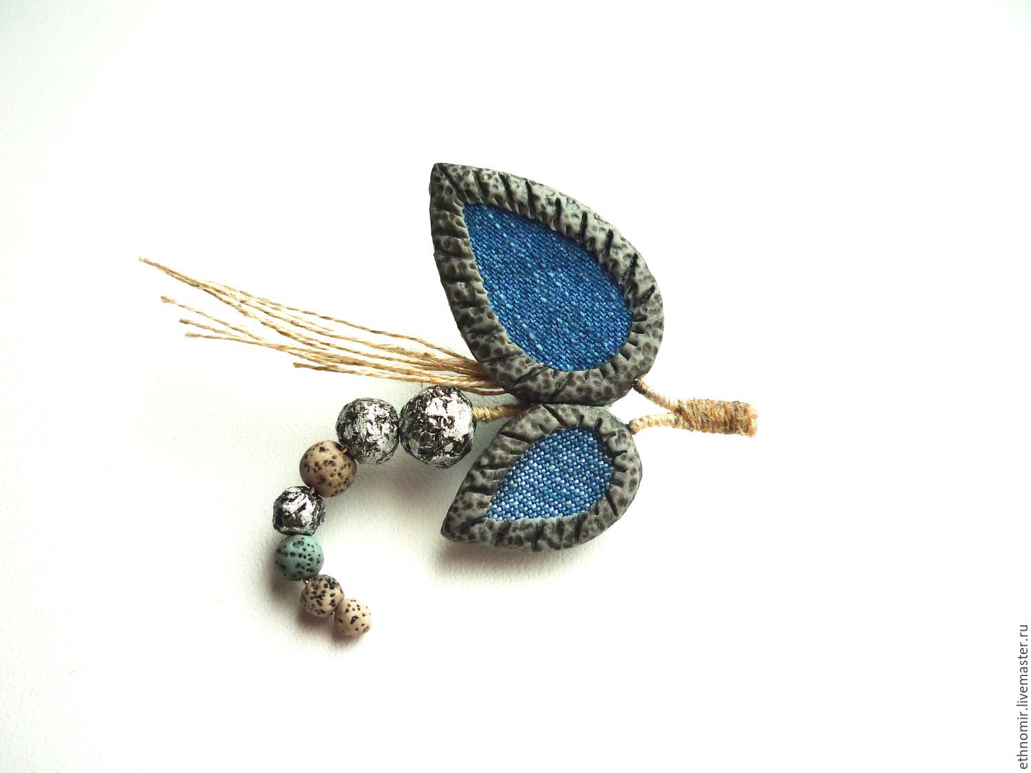 brooch `Twig`No. `№2 denim with a; series `Fancy brooches`