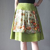 Одежда handmade. Livemaster - original item Skirt with olive suede and pavlovoposadskaja scarf. Handmade.